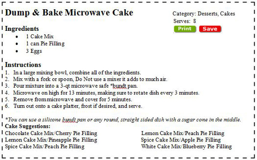 Microwave Dump Cake Recipes