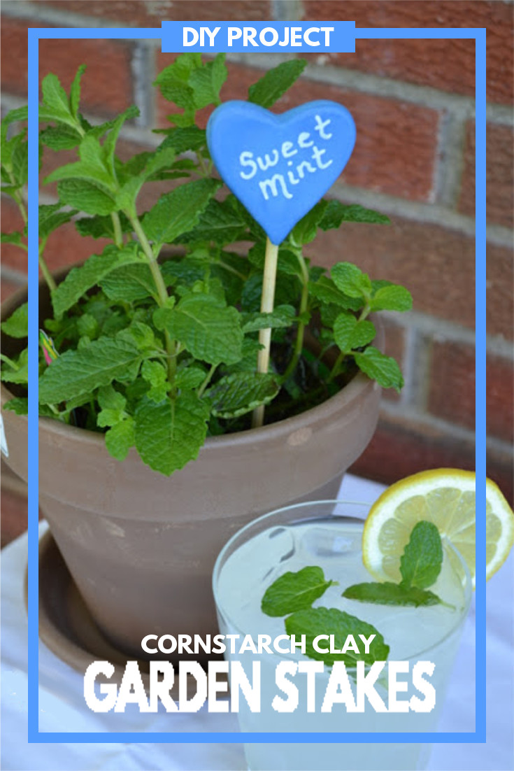 DIY Cornstarch Clay Garden Stakes - a fun and whimsical way to label your plants. This DIY project is super easy to do and fun for the whole family.