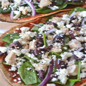 Simple Low-Cal Chicken Feta Pizza