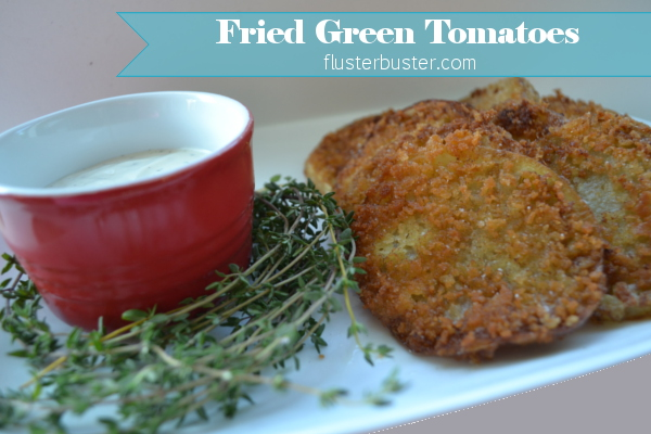 Fried Green Tomatoes - a simple, southern delicacy made from unripe tomatoes, dredged in a flour mixture and fried.  The slight sour flavor of the tomatoes works great with crunchy coating.