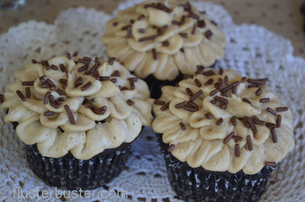 A delicious coffee infused chocolate cupcake topped with a rich espresso buttercream frosting.