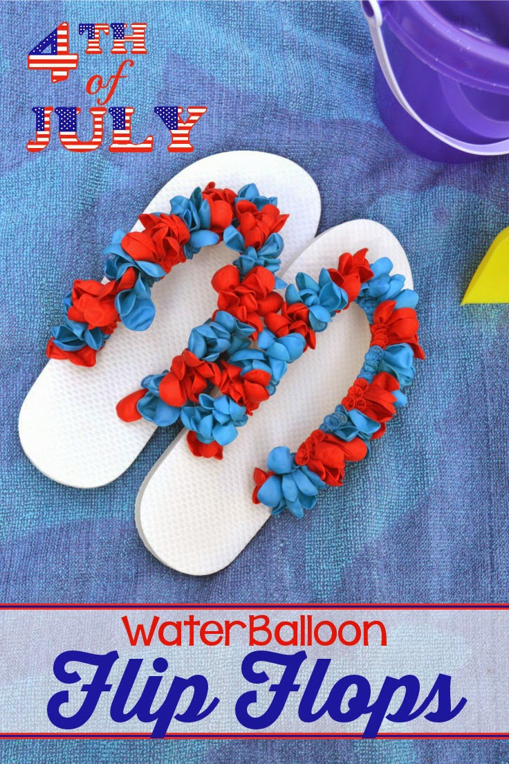 12392b5e64cd71 Water Balloon Flip Flops - a fun DIY project using inexpensive items found  at the dollar. A super simple activity that will keep the kids ...