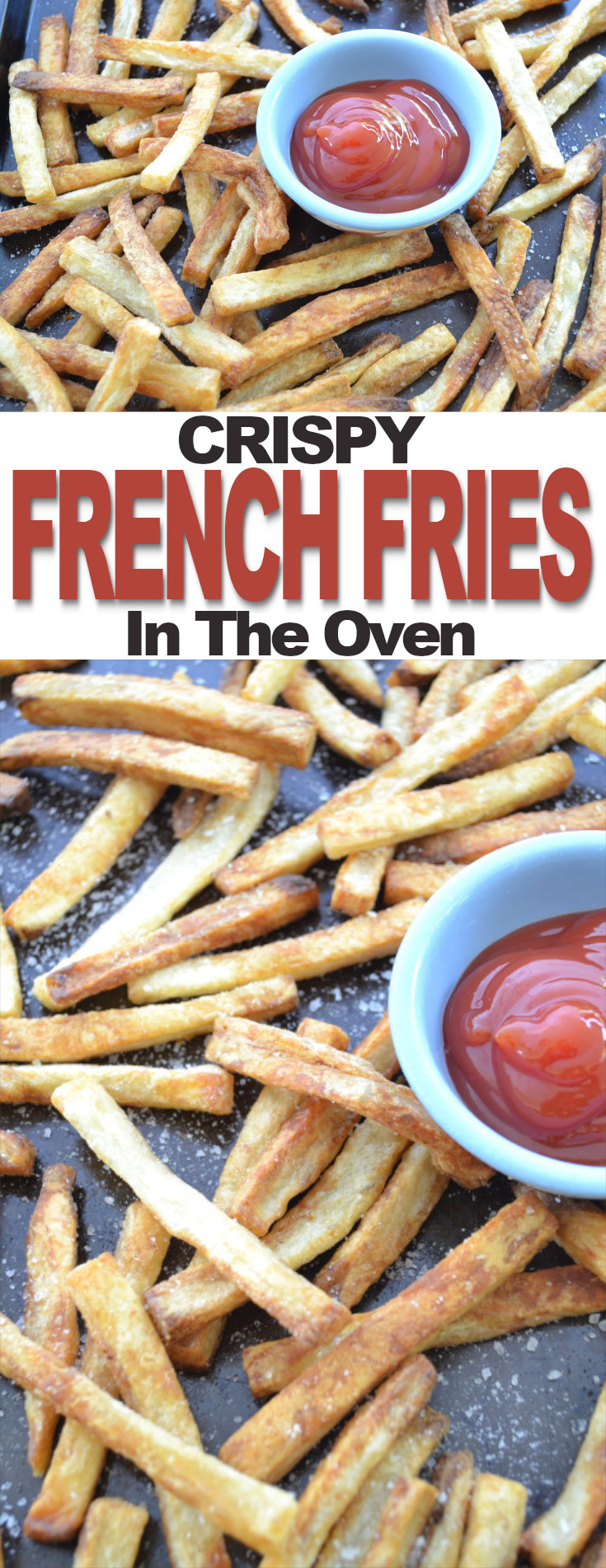 Baked French fries, a guiltless indulgence! They contain considerably less fat than regular fried potatoes, they're simple but are still crispy and just as delicious.