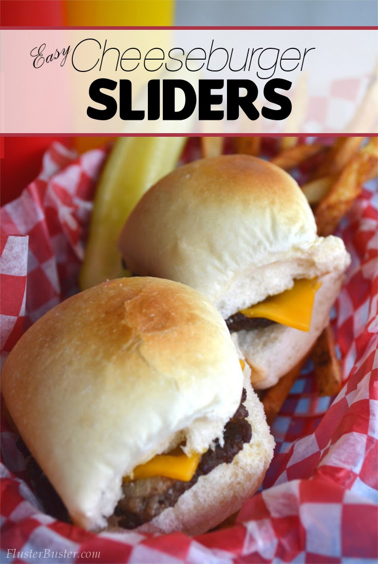 Simple Cheeseburger Sliders - Seasoned ground beef patties topped with cheddar cheese and served on a small sized bun.