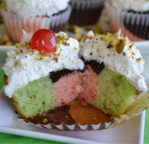 Spumoni Cupcakes w/Coconut Buttercream Frosting