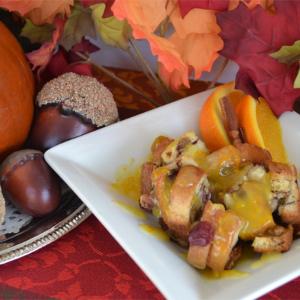 Pumpkin Cranberry-Raisin Bread Pudding w/Orange Sauce| Fluster Buster