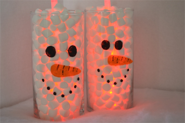 Lighted Marshmallow Snowman Vase - Christmas Craft | Fluster Buster