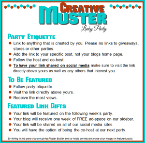 Great Ideas are found at the Creative Muster Party! Join us and other talented bloggers for some fun, food and inspiration!
