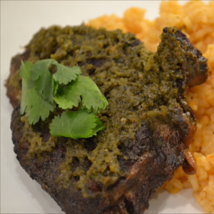 Poblano Carne Asada recipe. Mexican roasted steak flavored with Poblano peppers.