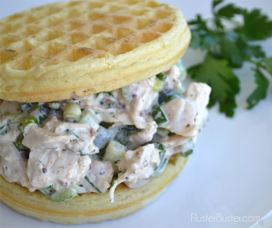 Fried Chicken Salad & Waffle Sandwich. Cold fried chicken makes the most satisfying chicken salad. For a simple and fun summer meal, mix the fried chicken with a creamy dressing, a few crunchies, a little heat and spread it between two waffles. Your family will love it and you'll love how simple it is.