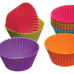 12 Colored Silicone Cupcake / Muffin Liners 2.8″ $2.70