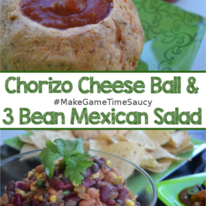 3-Bean Mexican Salad & Chorizo Cheese Ball Tailgating Recipes