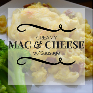 Super creamy mac & cheese is so cheesy and delicious. Serve as side dish or add sausage and serve as main dish. Simple recipes and kid favorite #mommymeals.