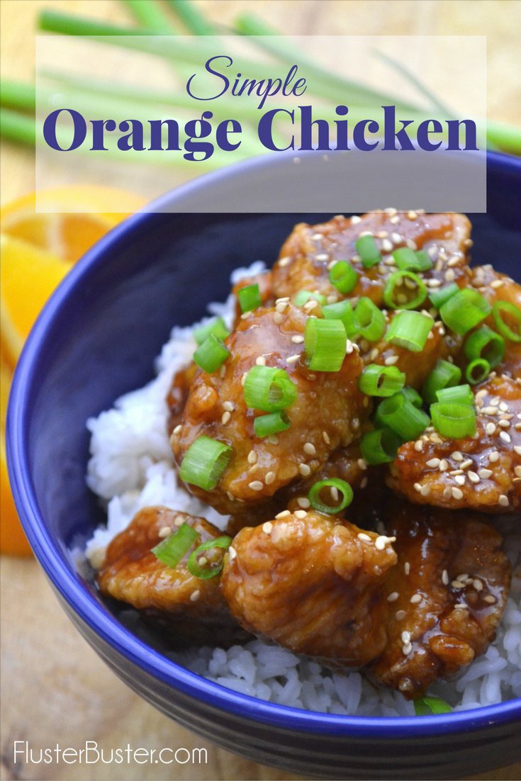 Classic Chinese Orange Chicken. This simple recipe is made with batter fried chicken coated with a sweet and tangy caramelized glaze. Serve over rice, top with sesame seeds and green onions for a classic takeout favorite.