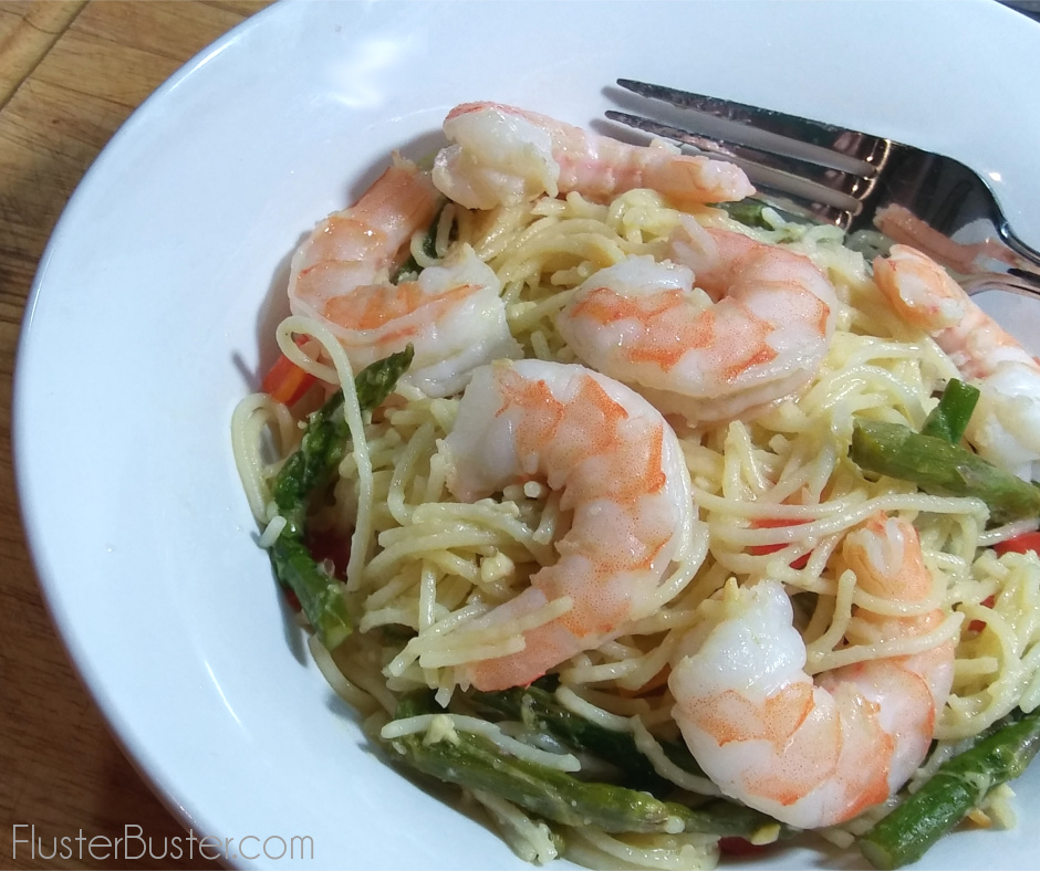 This simple shrimp and asparagus pasta recipe is delicious, and can be on the table in as little as 15-minutes.