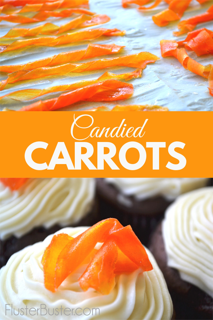 These candied carrots are a deliciously simple, and a fun way to decorate your cake. They add a touch of bright color, are nicely sweetened and have the texture of fruit leather.