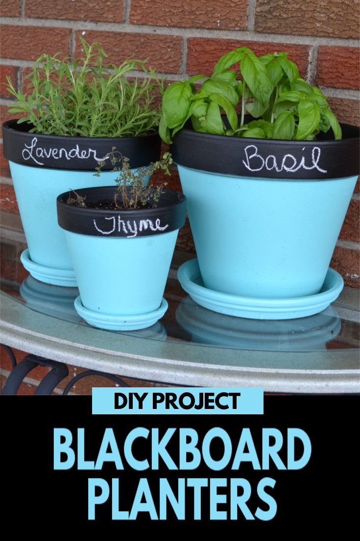 DIY Blackboard Planters - This cute DIY project is super simple and a fun way to display your favorite herbs, flowers or plants.