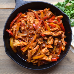 Looking for a delicious and easy weeknight meal? This Simple Chicken Fajita recipe ought to do the trick. With just a bit of slicing and and a few minutes over the heat you can have dinner on the table in less than 30 minutes.