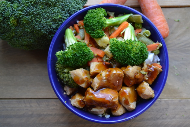 A simple tangy, sweet and sour chicken served over a bed of rice along with a variety of steamed, oriental style vegetables.