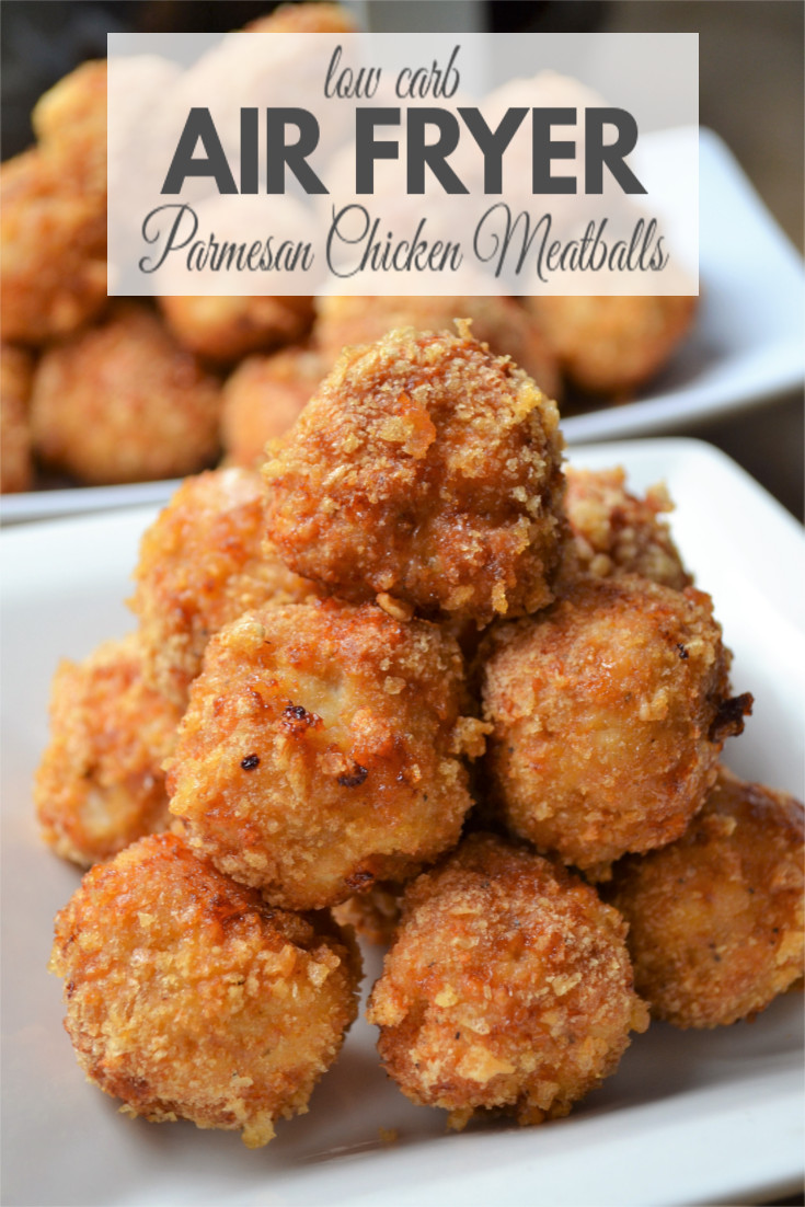 Air Fryer Parmesan Chicken Meatballs - A healthy recipe, that's simple to make, contains very little carbs and has a flavorful crispy crust.