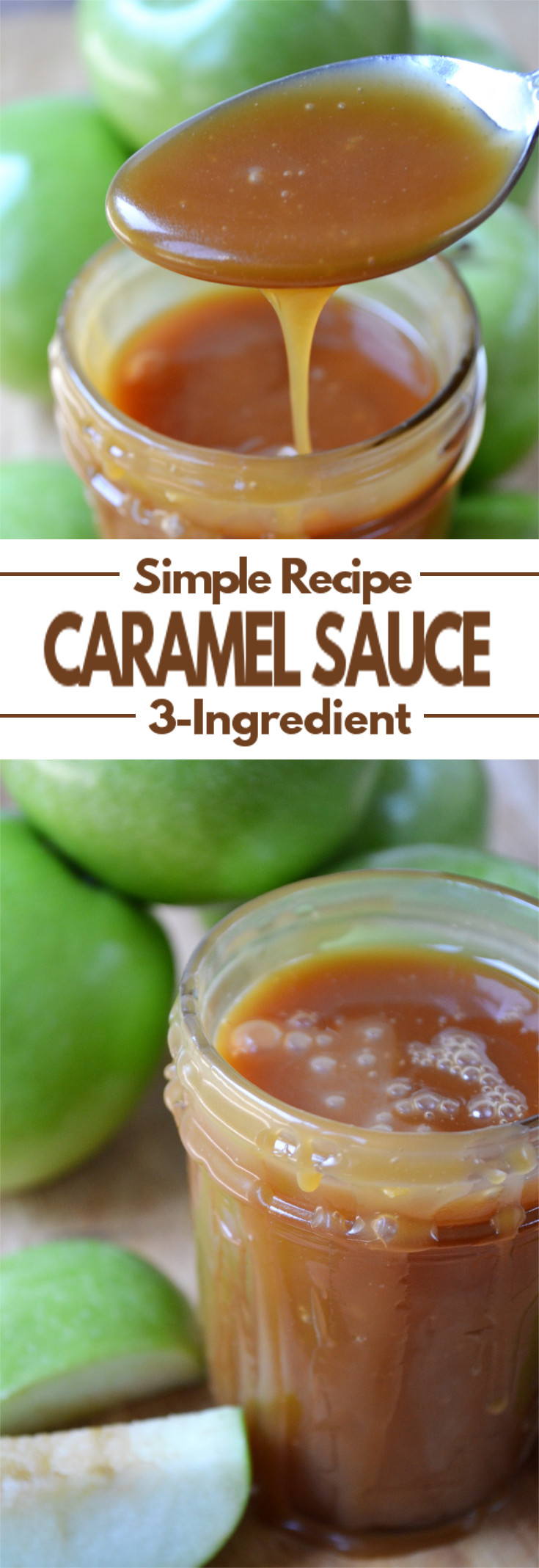 Homemade Caramel Sauce - A super simple, 3-ingredient, thick, yet smooth, sweet topping that tastes amazing with apples, ice cream or many of your favorite fall desserts.