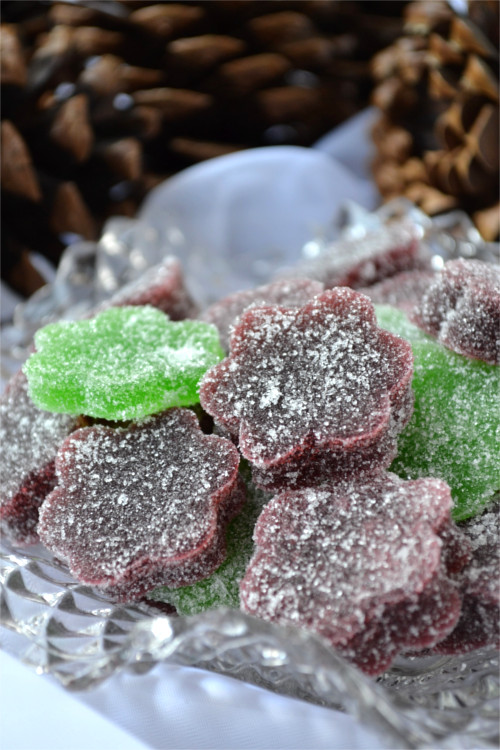A simple recipe for a soft and chewy, brightly colored, sugar coated, fruit flavored candy.