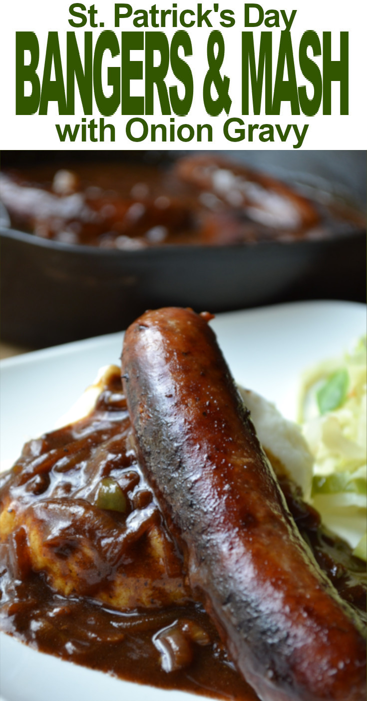 Simple Bangers and Mash - browned sausages served over mashed potatoes and covered in a savory onion gravy.