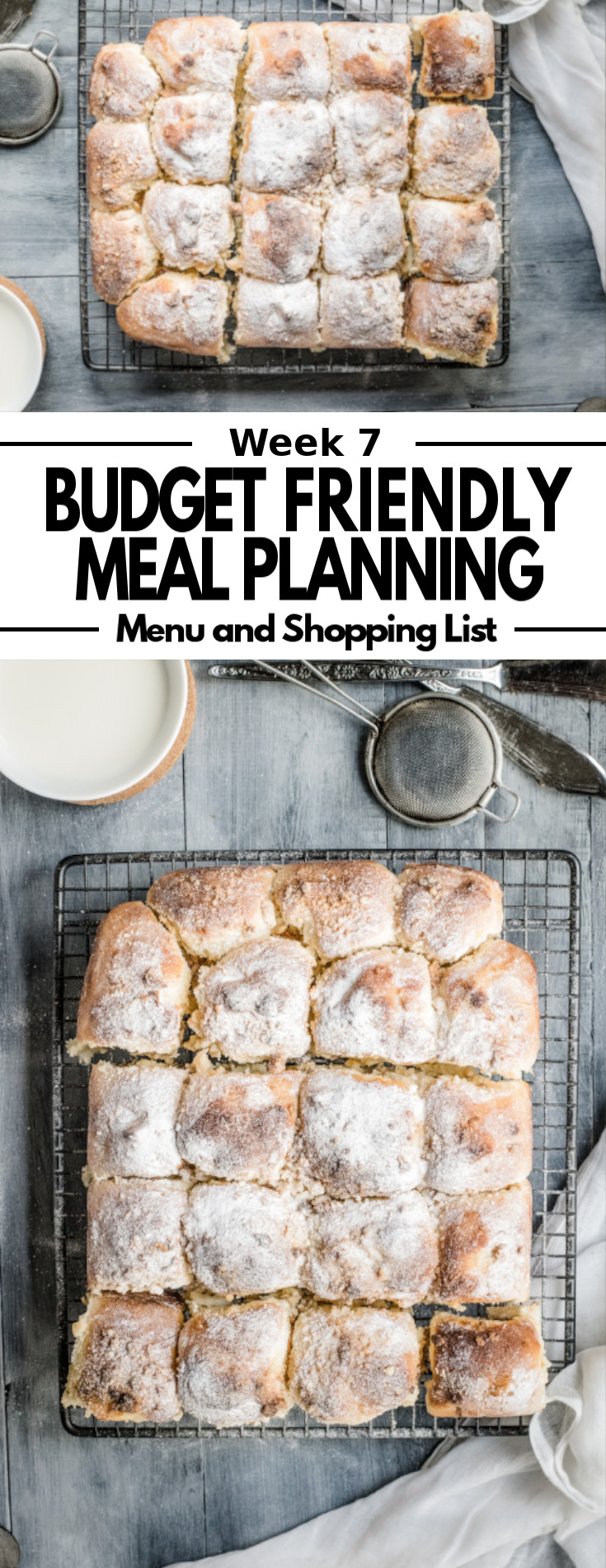 A delicious weekly meal plan and shopping list, featuring budget friendly dinner, side dish and dessert recipes.