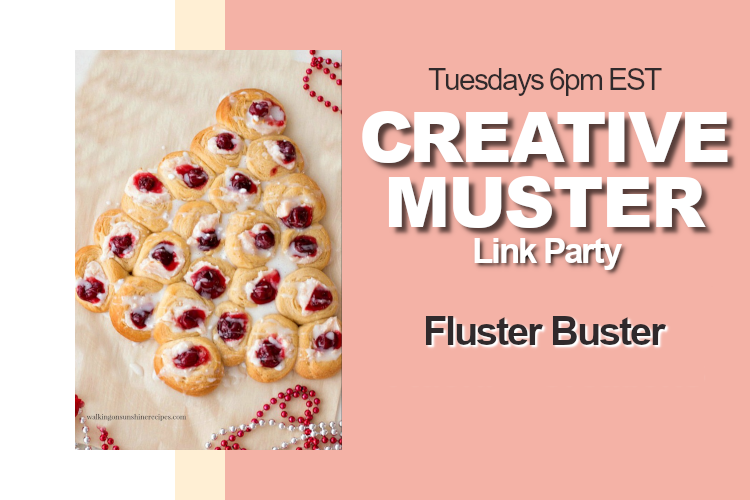Party announcement containing the image of the featured post, a Christmas tree cream cheese danish.